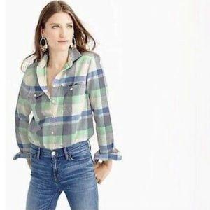 J. Crew flannel boyfriend shirt in pacey plaid